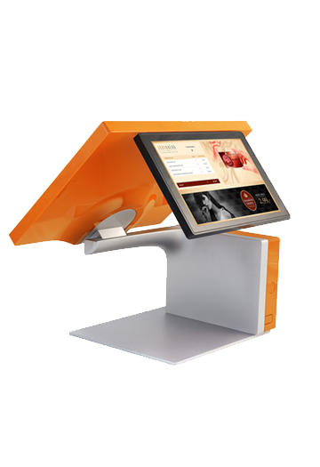 Designer cash register with display and accessories. All-in-one cash register and management system.